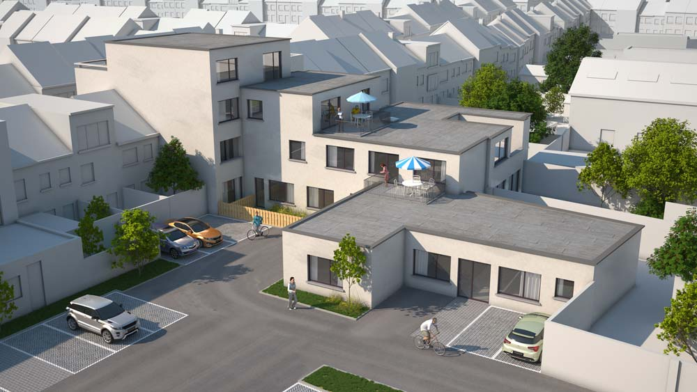 3d visualisatie render architect van exterieur knaptandsstraat te sint-niklaas